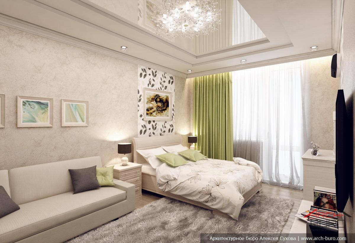 Дизайн спальни-гостиной 14 кв.м