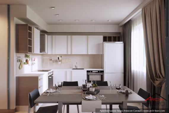 Качественный современный интерьер квартиры. Кухня