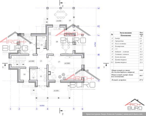 План 1-го этажа 2 этажного дома