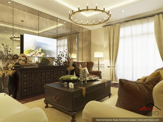 Американский колониальный стиль в интерьере гостиной