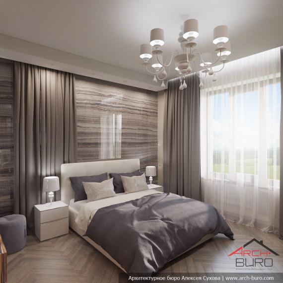 Дизайн интерьера спальни в коттедже. г. Мытищи