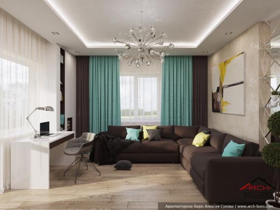 Дизайн гостиной в Геленджике