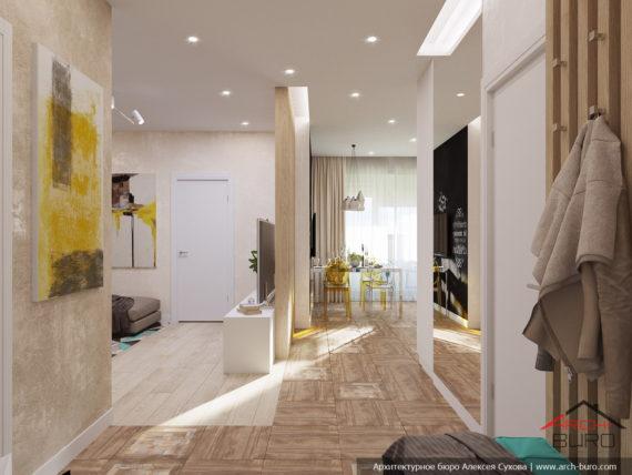 Проект перепланировки однокомнатной квартиры в двухкомнатную. Гостиная-кухня